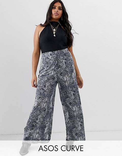 ASOS DESIGN Curve - Pantaloni con fondo ampio pitonati