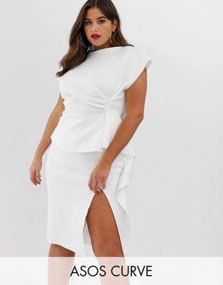 Image 1 of ASOS DESIGN Curve peplum pencil midi dress with tuck detail