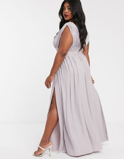 ASOS DESIGN Curve Premium Lace Insert Pleated Maxi Dress