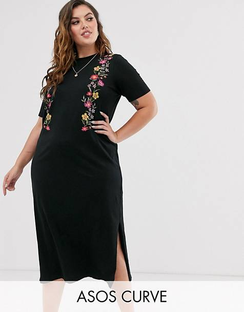 ASOS DESIGN Curve printed floral midi t shirt dress