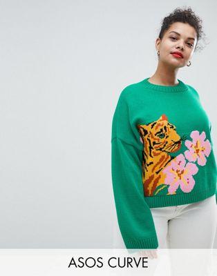 ASOS DESIGN Curve - Pull motif tigre avec fleur tropicale