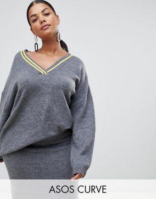 ASOS DESIGN Curve – Pullover mit V-Auschnitt und Zierstreifen, Kombiteil