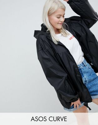 ASOS DESIGN Curve rain jacket with bum bag