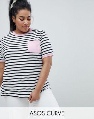 ASOS DESIGN – Curve – Randig t-shirt med ficka och kontrastsöm