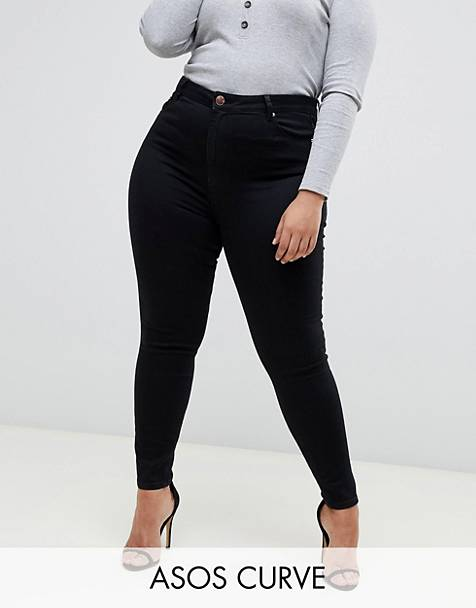 ASOS DESIGN Curve Ridley high waisted skinny jeans in clean black