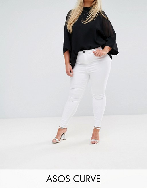 ASOS DESIGN Curve Ridley high waisted skinny jeans in optic white