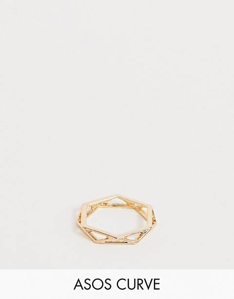 ASOS DESIGN Curve ring in open geo design in gold