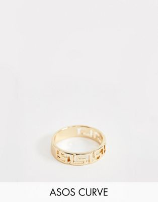 ASOS DESIGN Curve ring in vintage style logo design in gold
