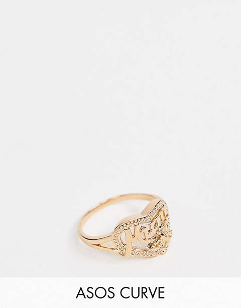 ASOS DESIGN Curve ring in vintage style mum design in gold