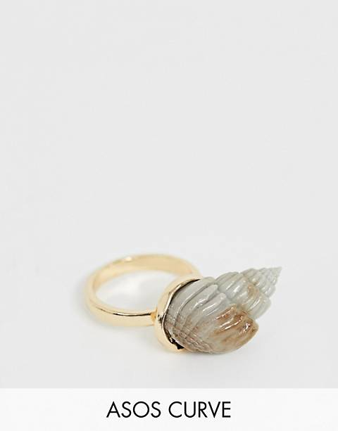 ASOS DESIGN Curve ring with faux shell in gold tone