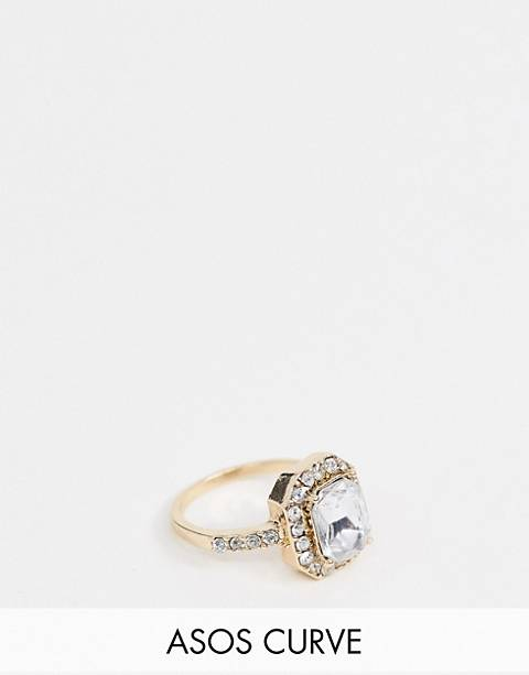 ASOS DESIGN Curve ring with square jewel and crystal band in rose gold