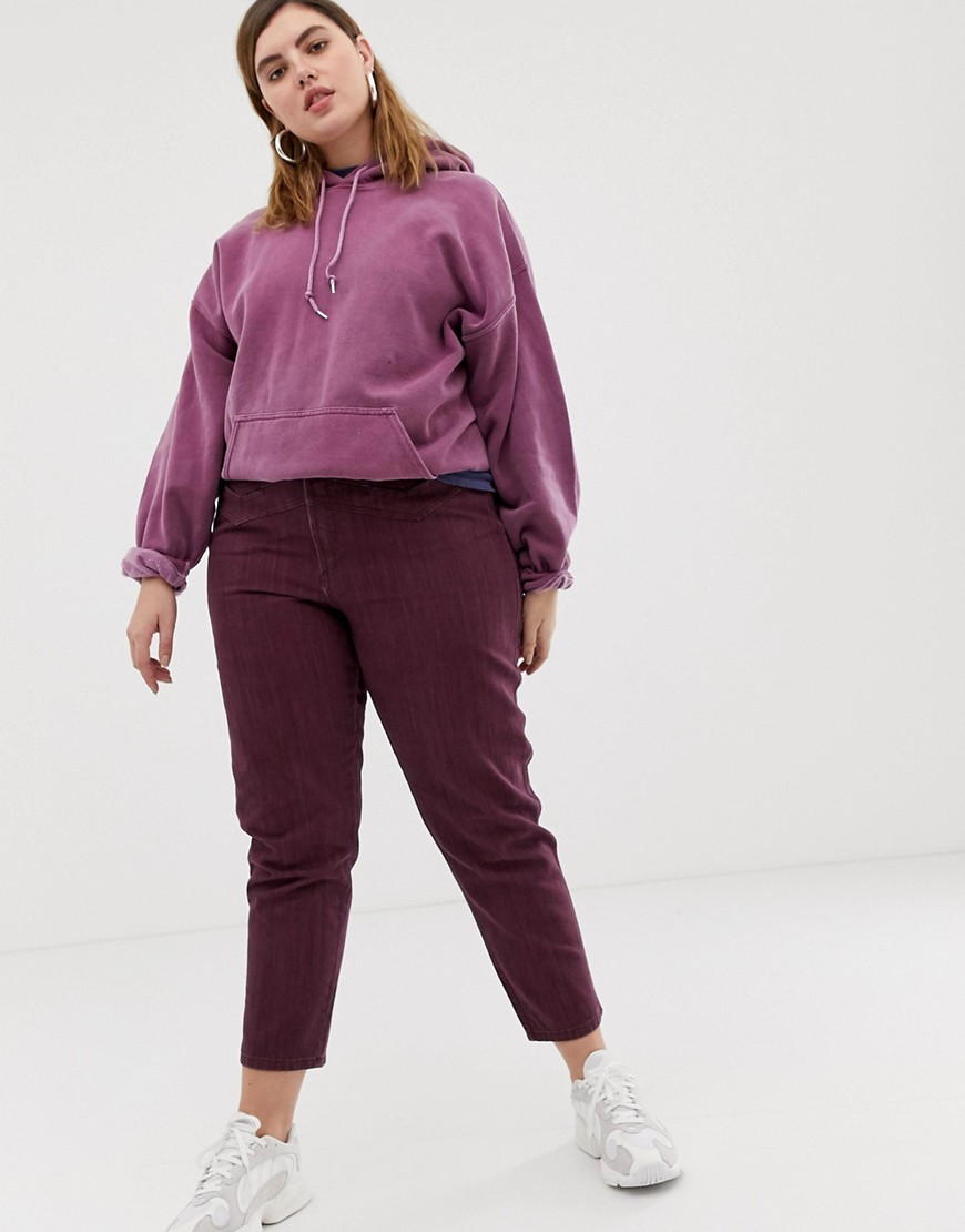 Asos Design Curve Ritson Rigid Mom Jeans With Seam Detail In Oxblood Stripe by Asos Design