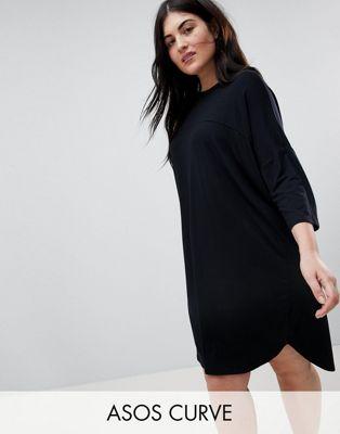 Image 1 sur ASOS DESIGN Curve - Robe t-shirt oversize avec coutures apparentes