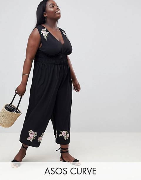 ASOS DESIGN Curve Ruched Waist Plunge Jumpsuit With Embroidery