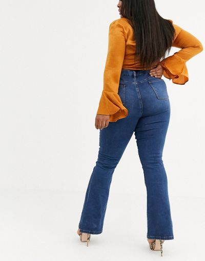 ASOS DESIGN Curve Sculpt me full length flare jeans in mid vintage blue wash