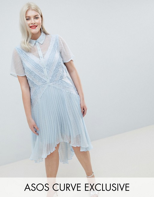 ASOS DESIGN Curve shirt dress in dobby lace