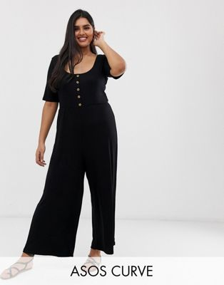 Image 1 of ASOS DESIGN Curve short sleeve rib button front jumpsuit
