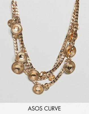 ASOS DESIGN Curve Statement Coin And Chunky Chain Multirow Necklace