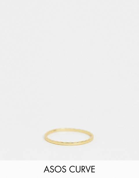ASOS DESIGN Curve Sterling silver with gold plate ring with etched detail