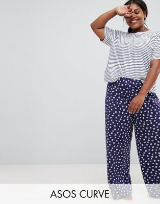 Image 1 of ASOS DESIGN Curve stripe tee and floral wide leg pyjama set