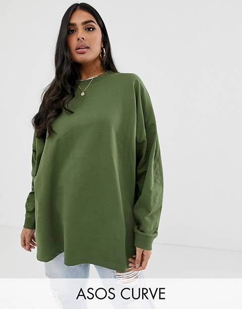 ASOS DESIGN Curve super oversized lightweight sweatshirtshirt in khaki