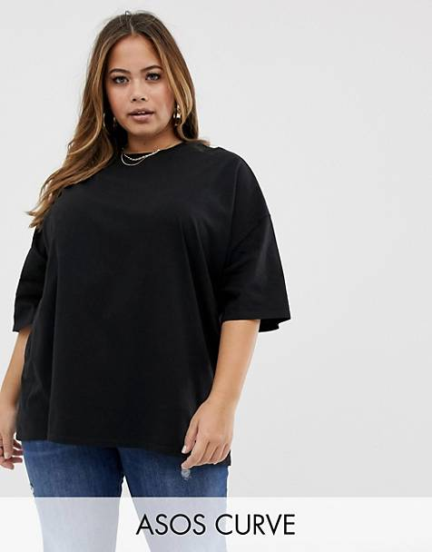 d07f88fa7ba0 ASOS DESIGN Curve super oversized t-shirt with wash in black