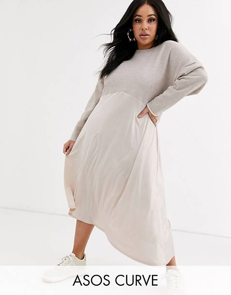 ASOS DESIGN Curve sweat midi dress with slinky hem