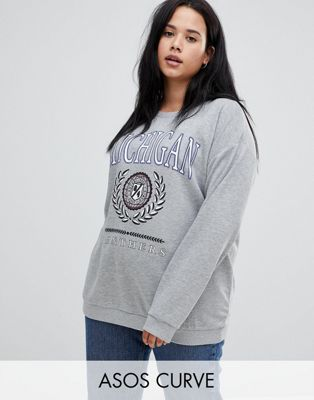 ASOS DESIGN Curve sweatshirt with michigan print in grey marl