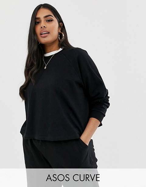 ASOS DESIGN Curve swing crop sweatshirt in black