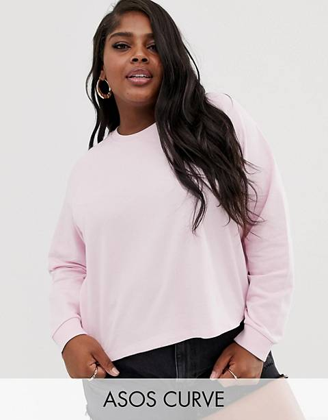 ASOS DESIGN Curve swing crop sweatshirt in pink