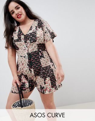 ASOS DESIGN Curve Swing Romper With Button Front In Patchwork Floral Print