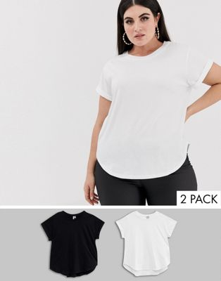 ASOS DESIGN Curve t-shirt in boyfriend fit with rolled sleeve and curved hem in 2 pack SAVE