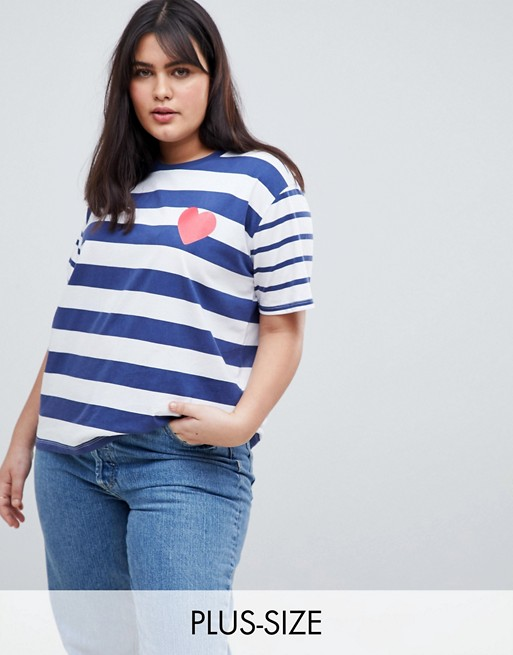 ASOS DESIGN Curve T-Shirt In Mix And Match Stripe With Heart Print