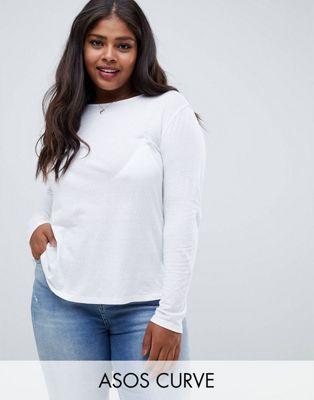 ASOS DESIGN - Curve - T-shirt met ronde hals en lange mouwen van getextureerd katoen in wit
