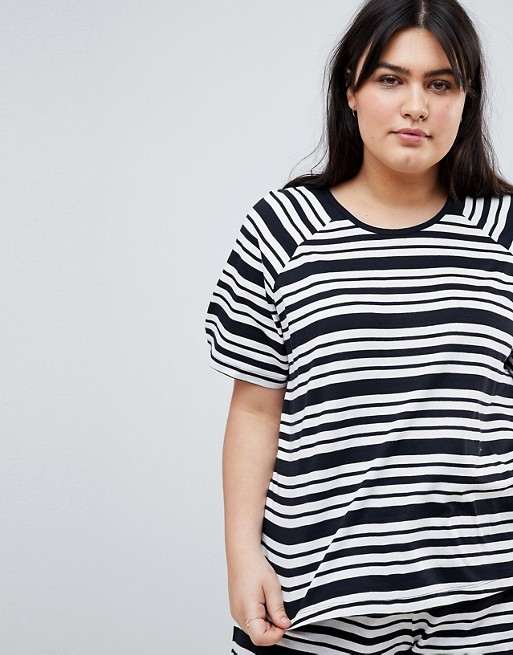 Curve Set im DESIGN unterschiedlichen Streifen Shirt und mehrfarbig ASOS Shorts mit T U5paxB