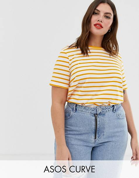 da7c83bf08866 ASOS DESIGN Curve t-shirt with crew neck in stripe