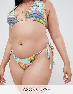 ASOS DESIGN Curve tie side bikini bottom in cuban stripe print