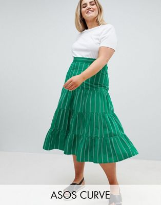 ASOS DESIGN Curve tiered cotton midi skirt in green stripe