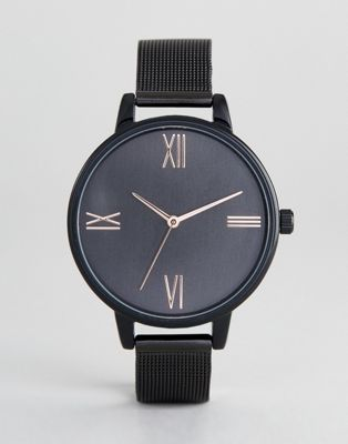 ASOS DESIGN Curve Tonal Black Mesh Watch