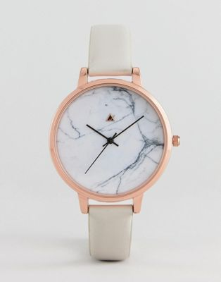 ASOS DESIGN Curve Tonal Grey Marble Leather Watch