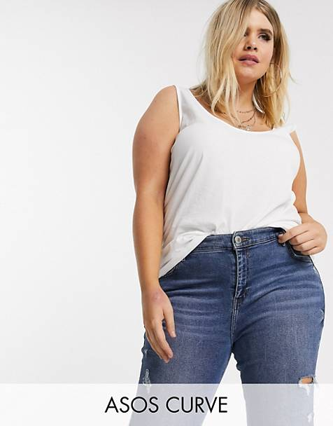 ASOS DESIGN Curve ultimate organic cotton tank in white
