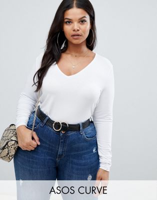 ASOS DESIGN Curve - Ultimate - Top à manches longues et col en V - Blanc