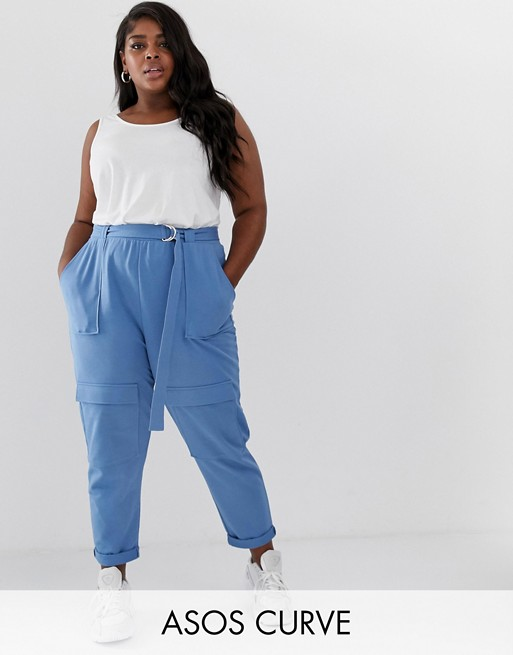 ASOS DESIGN Curve utility jogger with belt