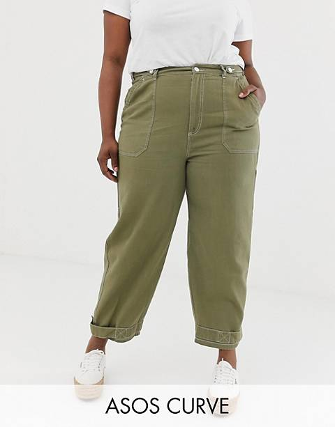 ASOS DESIGN Curve utility pants with top stitching and tab detail
