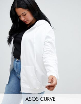 ASOS DESIGN Curve zip through hoodie in white
