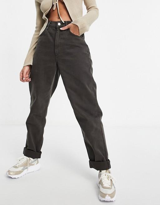 ASOS DESIGN – Czekoladowobrązowe luźne mom jeans z podwyższonym stanem