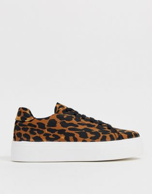 ASOS DESIGN Day Light chunky lace up sneakers in leopard print