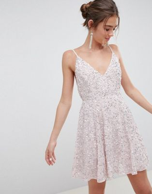 ASOS DESIGN delicate sequin plunge mini dress with full skirt
