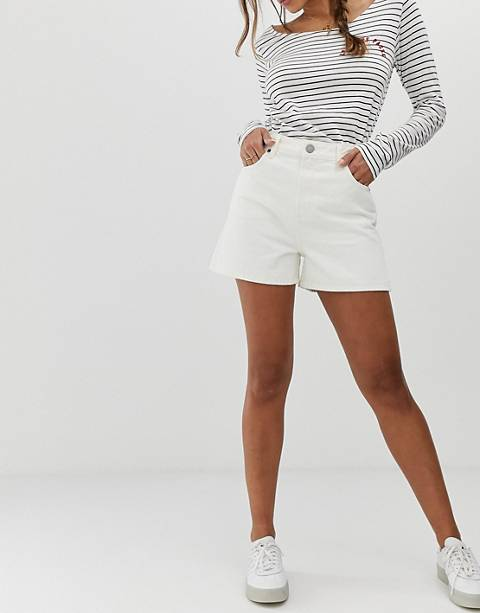 ASOS DESIGN denim a line mom shorts in off white