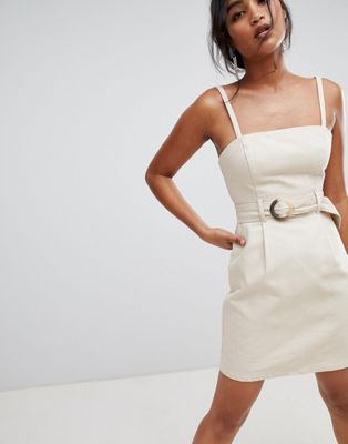 ASOS DESIGN denim belted mini dress in stone